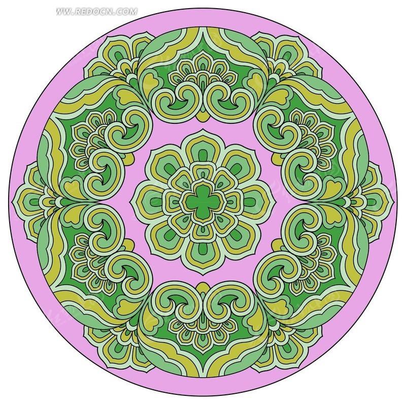 多彩圆形花纹 动感圆形花纹主题矢量素 欧式圆形花纹及金色花边 黑白