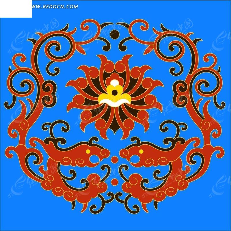 手绘 双龙 戏珠 花纹 云纹 花纹素材 花边 花边素材 PSD素材 PSD分层