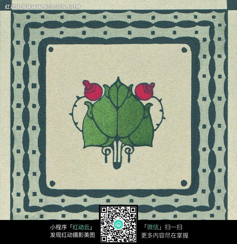 正方形灰绿边框心形叶子花图案图片