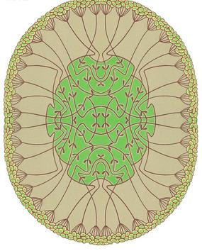 椭圆形构图里的仙鹤与图案花