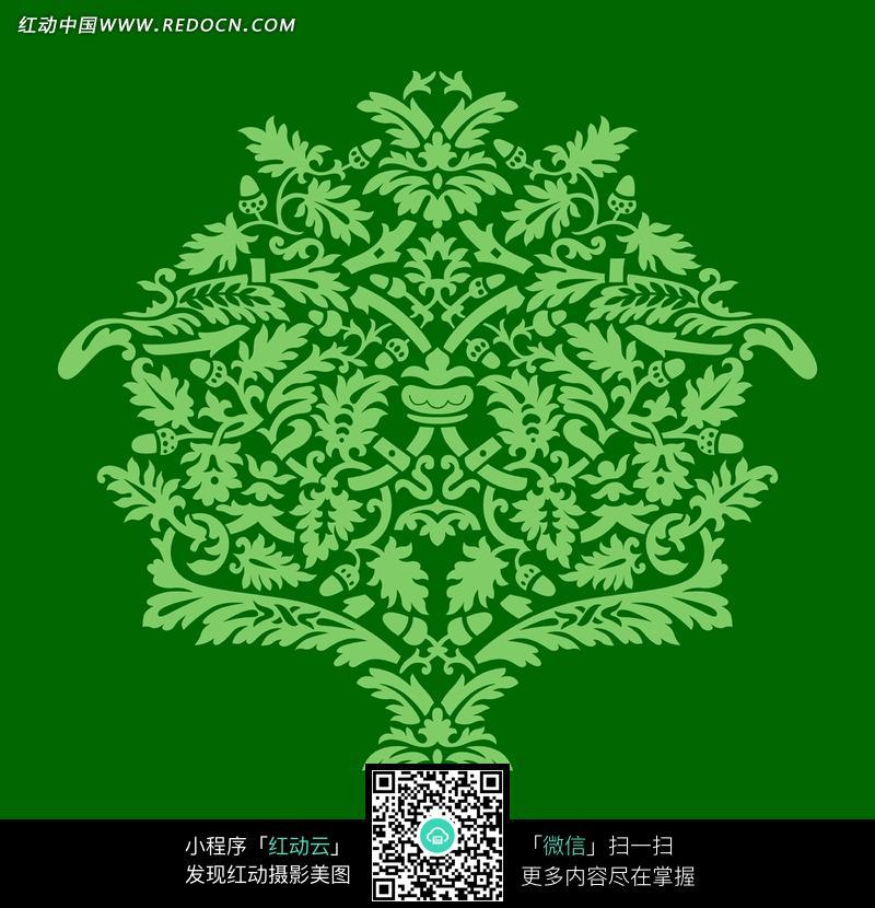 精美绿色藤蔓植物花纹