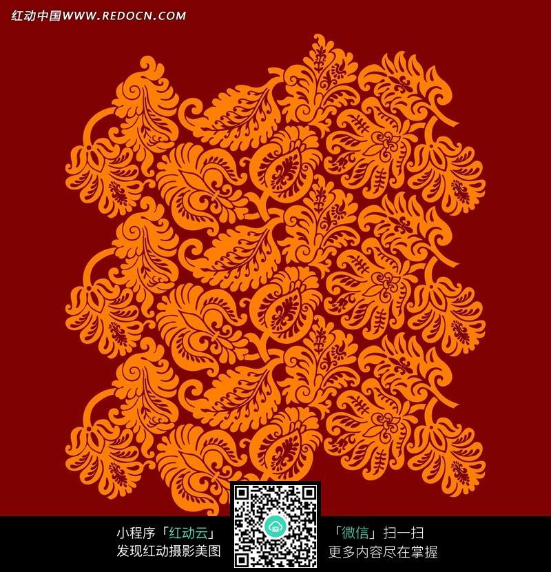深红色背景橙色植物花纹图片;