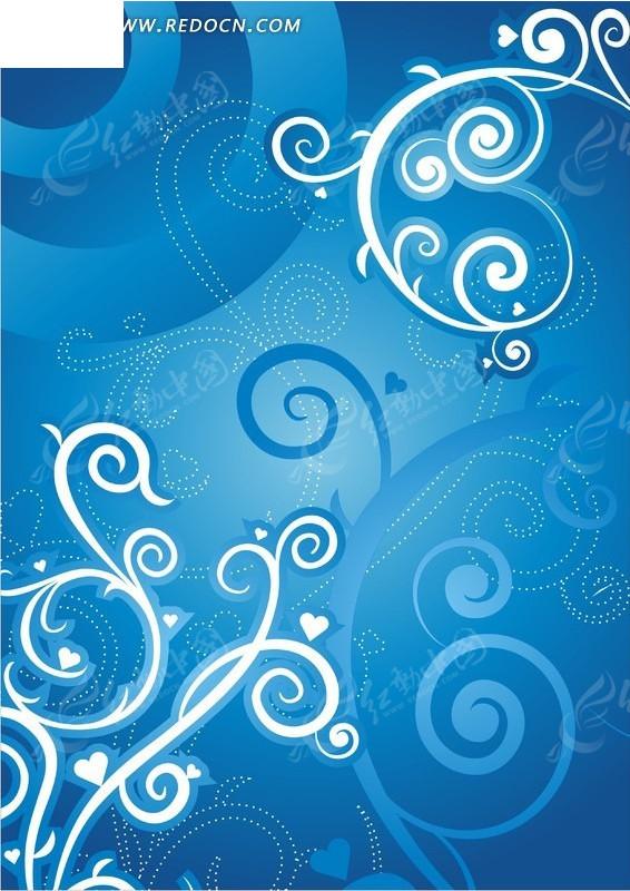 蓝色系藤蔓花纹背景素材