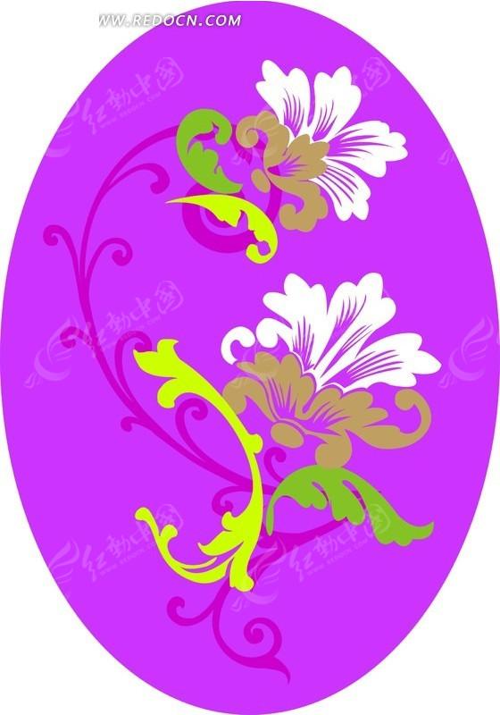 精美花朵和紫色椭圆背景