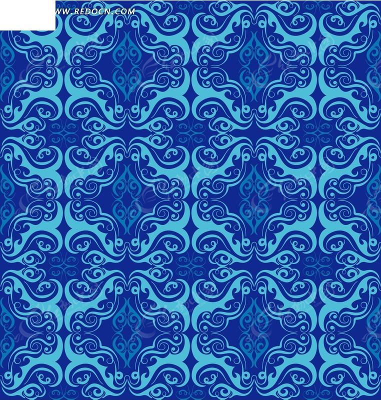 蓝色背景上的四方连续花纹图案