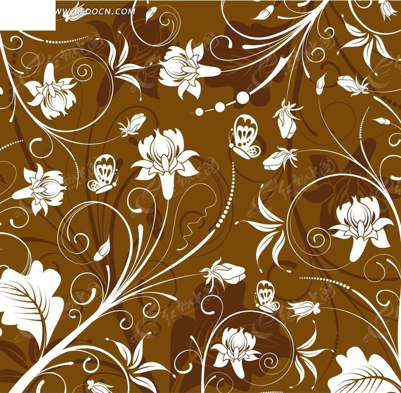 素材下载 矢量素材 花纹边框 底纹背景 > 蝴蝶花朵枝叶