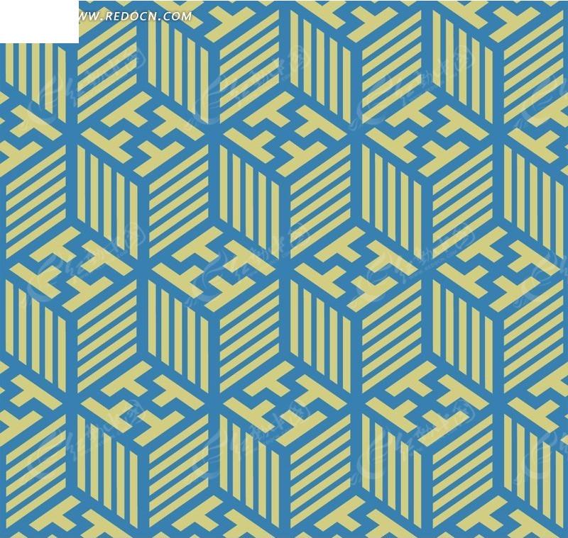 蓝色立体正方形循环花纹