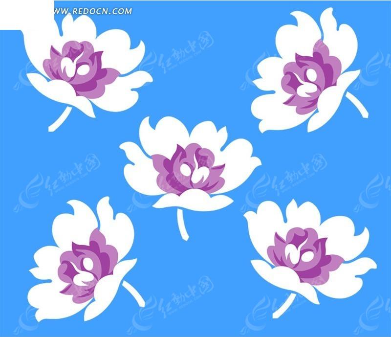 手绘紫芯白莲花