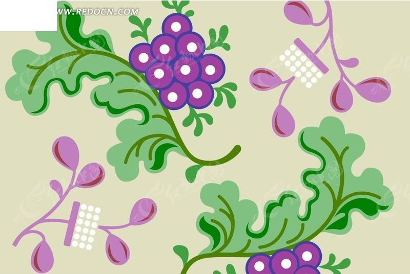 手绘葡萄叶蔓花卉图