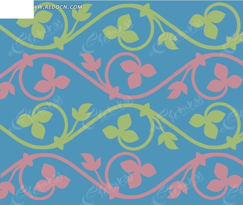 蓝色欧式藤蔓花纹