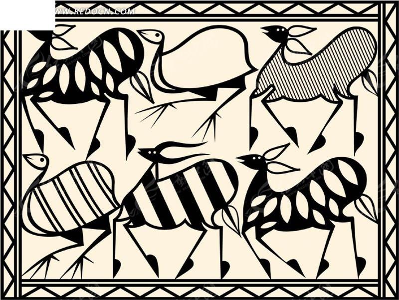 长方形浅底黑色动物线条图案分层素材