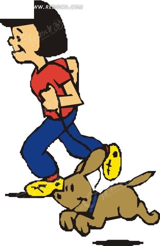 跑步的小孩和小狗矢量图_女性女人