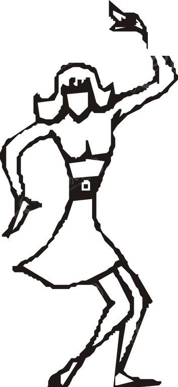 免费素材 矢量素材 矢量人物 女性女人 线描简笔画跳舞的美女