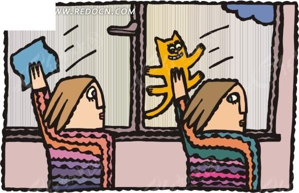 用猫咪擦玻璃的卡通人物