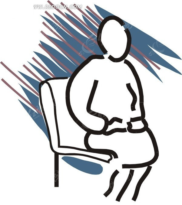 手绘坐着椅子上的人