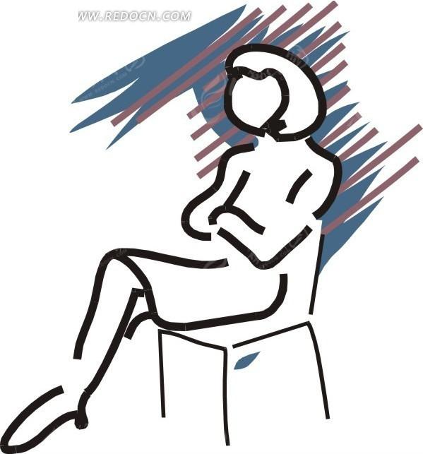 手绘双手抱胸坐在椅子上的女人