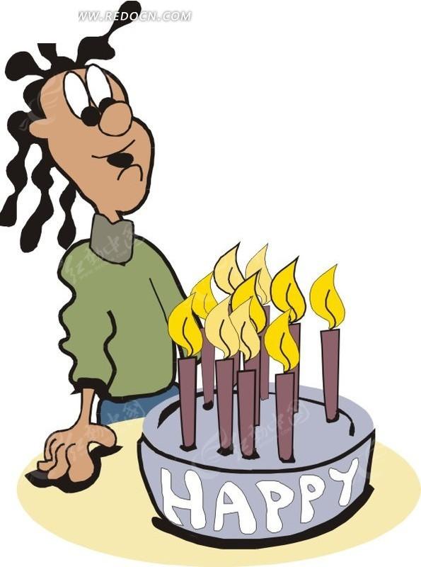 卡通人物和生日蛋糕矢量图_女性女人