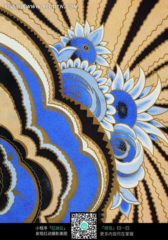 手绘精美蓝色花朵花纹背景图片