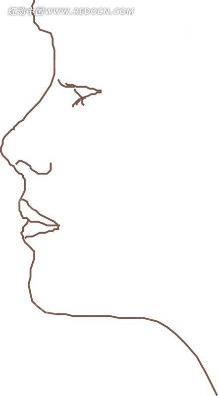 线描简笔画美女头像