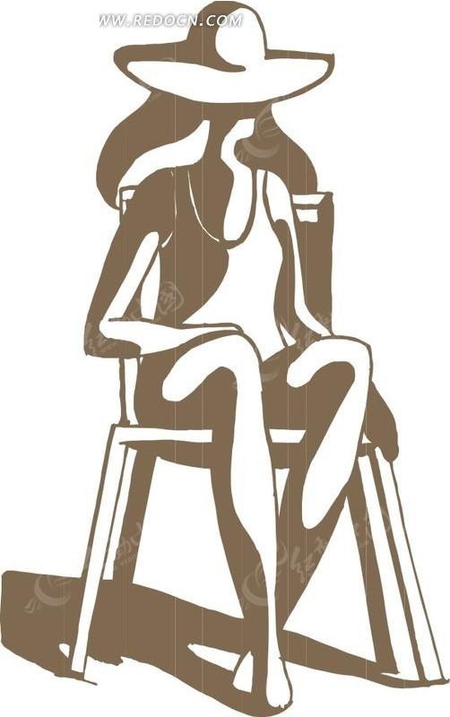 手绘戴着帽子坐在椅子上的女人