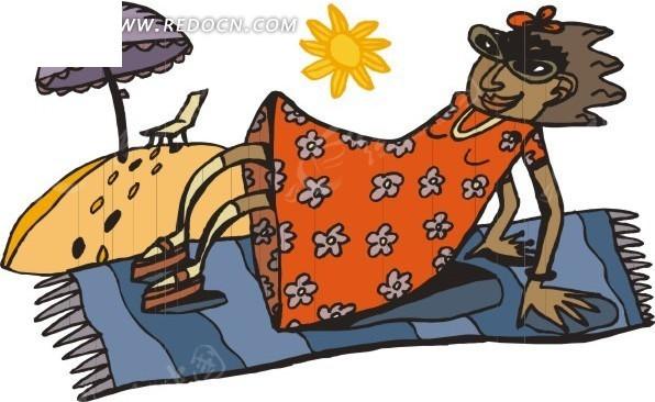 毯子 太阳 遮阳伞 椅子 沙滩 人 卡通画 插画 手绘 矢量素材 美女图片