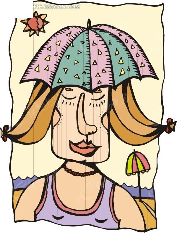 卡通人物戴着雨伞帽