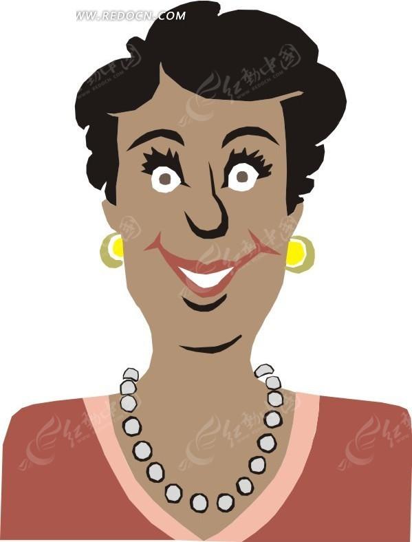免费素材 矢量素材 矢量人物 女性女人 手绘微笑的黑人女士上半身