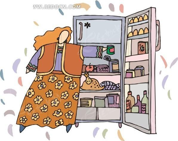 打开冰箱的卡通人物
