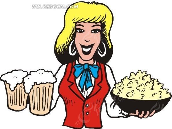 拿着啤酒饮料的卡通人物矢量图eps免费下载_女性女人
