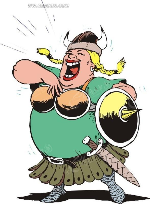 手绘漫画-飞翔的女战士 手绘卡通人物-拿剑的女战 手绘花纹背景的铠