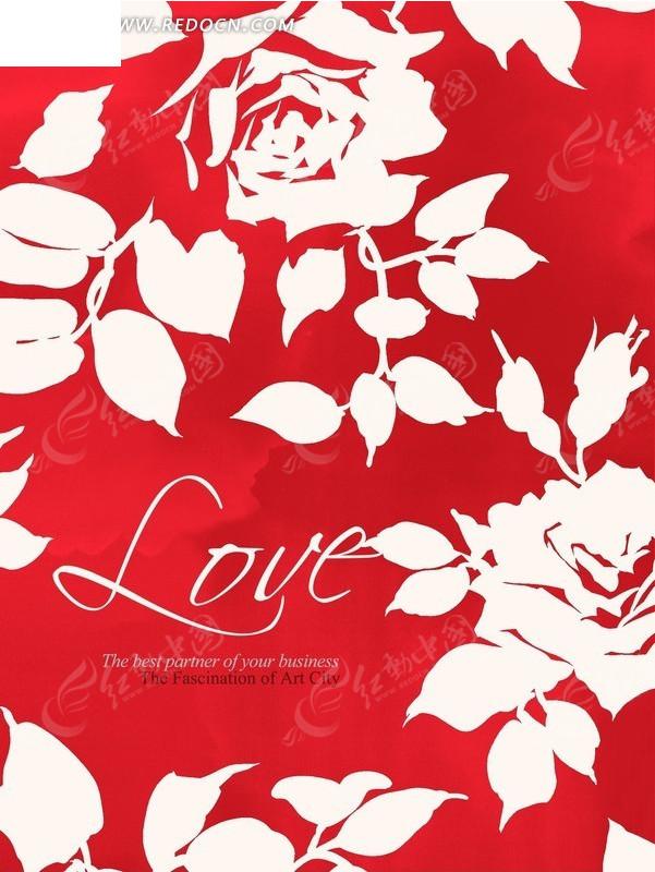 玫瑰花剪影_红色背景上的白色玫瑰花剪影psd素材