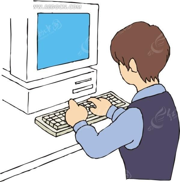 下载《电脑前的卡通人物》[免费图片] (仅供参考学习使用,商; 电脑前
