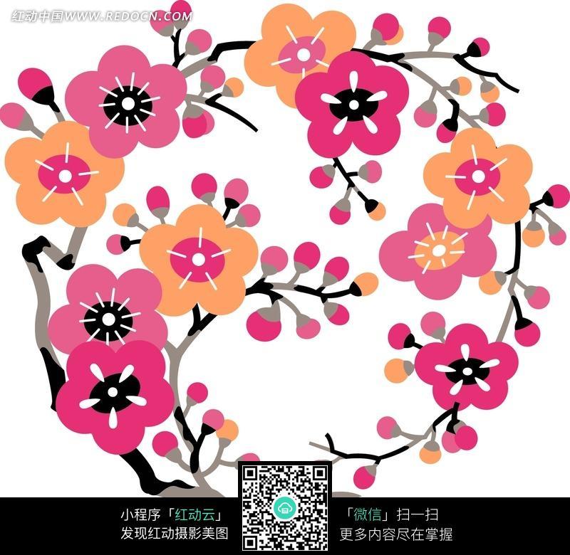 手绘; 桃花背景; 精美可爱的桃花花纹图片 花纹 花边 线条 背景图库下