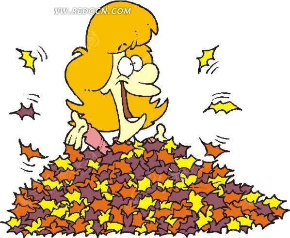 叶子堆里的卡通人物