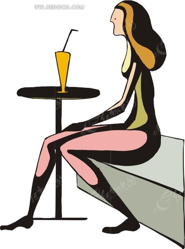 坐着喝饮料的女孩