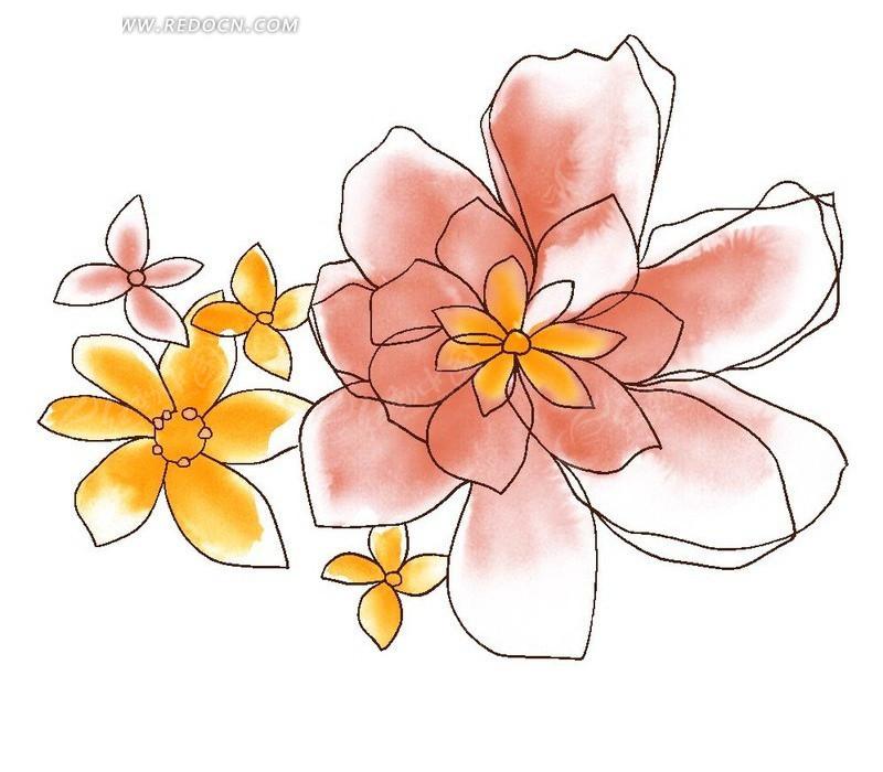 手绘淡雅线条花卉