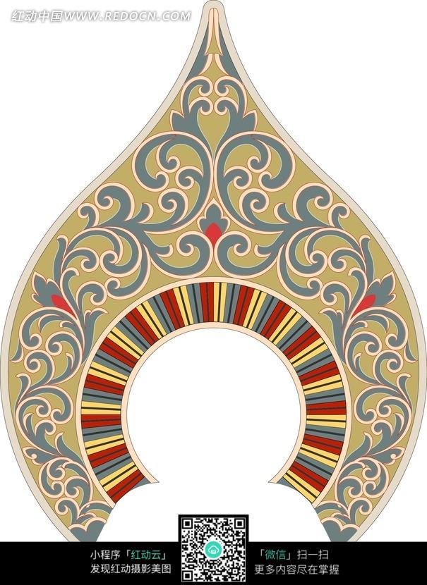 卷草花纹和土黄尖头圆拱形彩虹环构成的图案