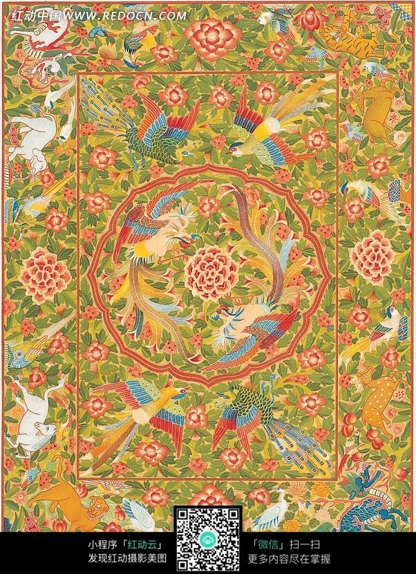 双凤牡丹纹孔雀麒麟动物纹构成的吉祥背景图片