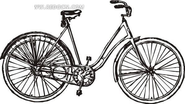 手绘黑白自行车矢量图