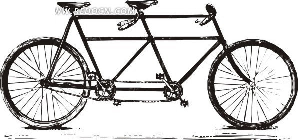 手绘黑色双人自行车矢量图
