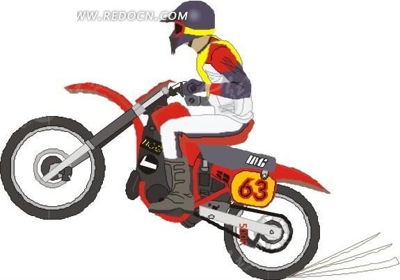 手绘骑着红色摩托车的车手