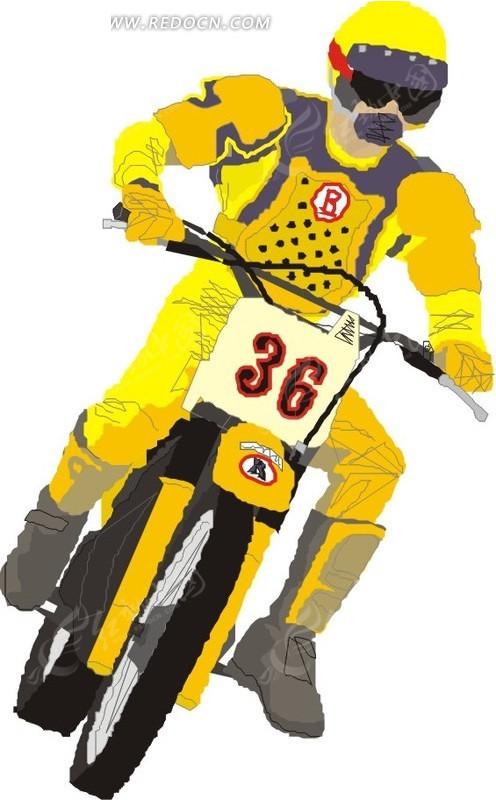 手绘骑着黄色摩托车的车手