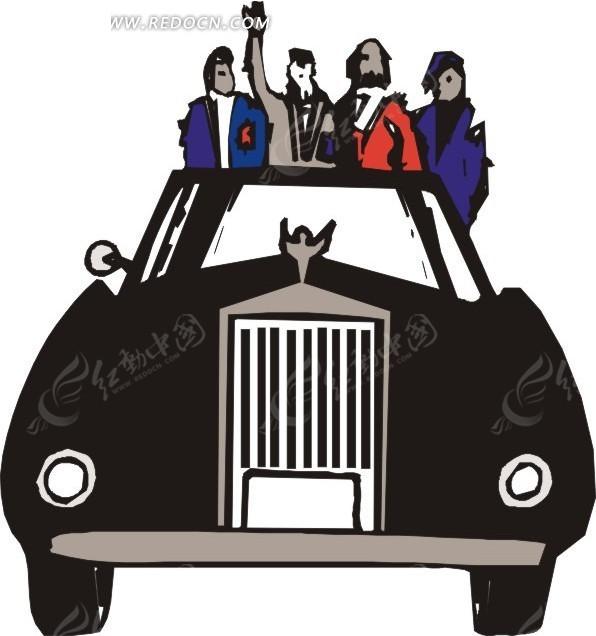 手绘汽车—坐在劳斯莱斯汽车上的人
