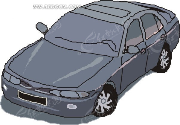汽车 灰色汽车俯视图矢量图 交通工具