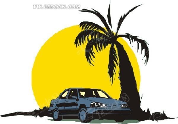 手绘椰子树下的汽车