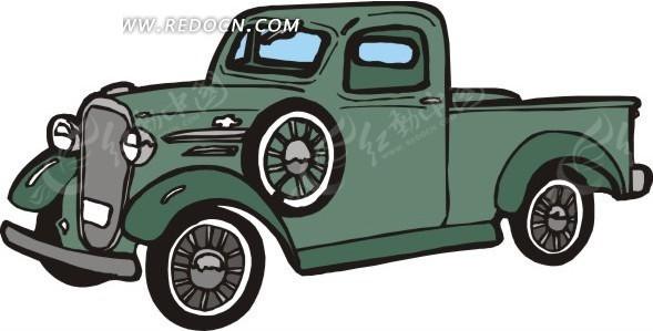 手绘汽车—墨绿色老式汽车