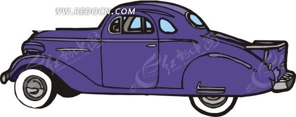手绘汽车—紫色老式汽车侧面