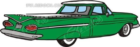 手绘汽车—绿色老式汽车