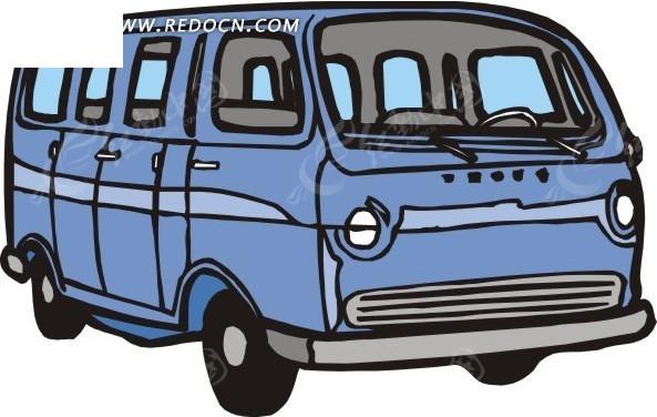 手绘汽车—蓝色巴士