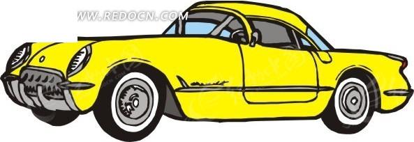 手绘汽车—黄色老式汽车车头